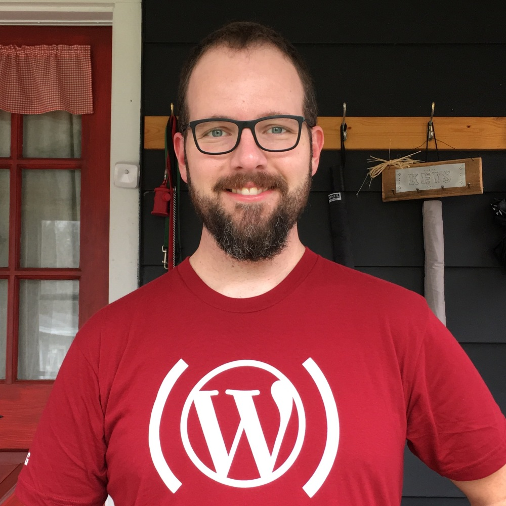 Me wearing a WordPress.com RED.org t-shirt